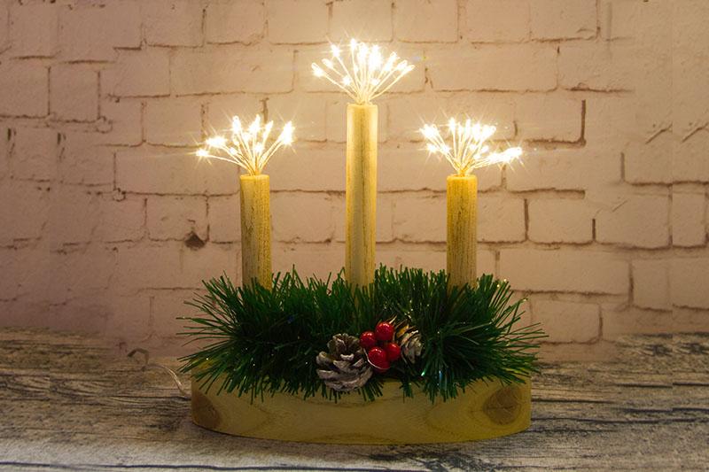 3PCS Wood Candle Starburst Light