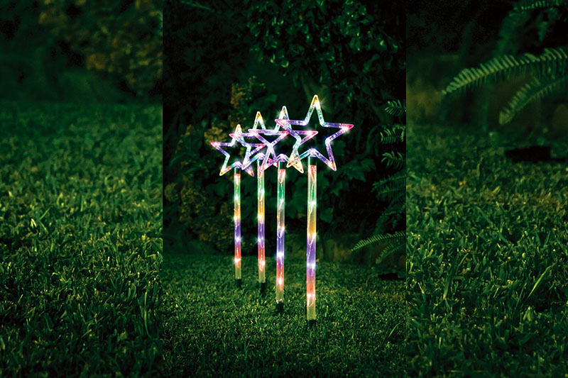 4pk Multi Colour Star  Path Lights