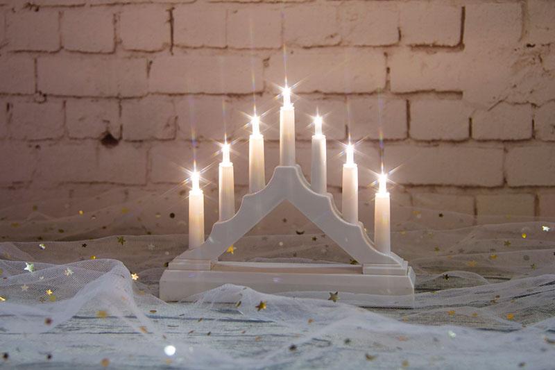 7PCS Mini White Plastic Candle Bridge Light