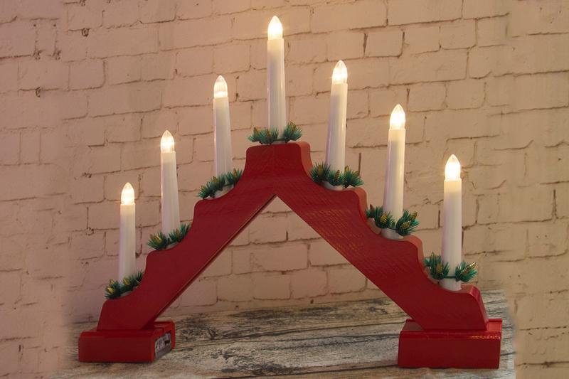 7PCS Red Wood Candle Bridge Light