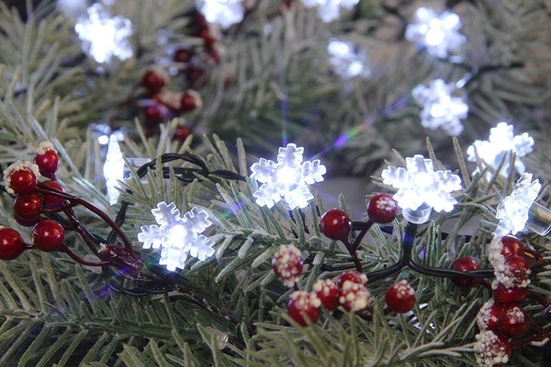 Cool White LED Snowflake Lights