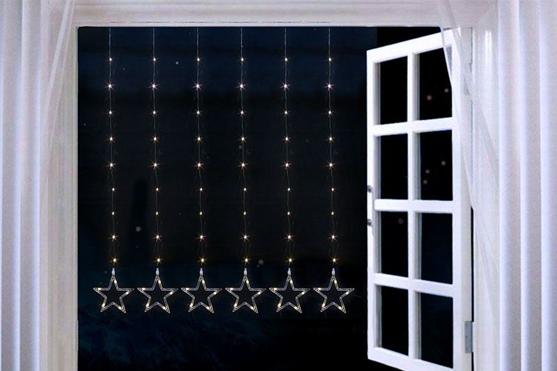 Copper Wire Star Curtain Lights