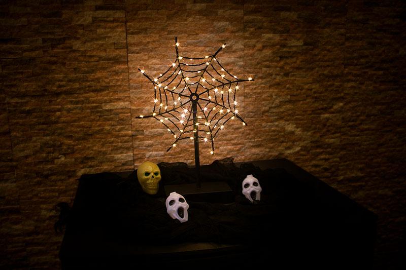 Halloween LED Metal  Spider's Web Light