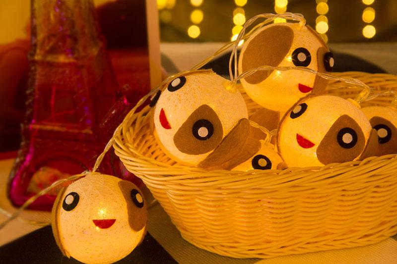 LED Cotton Ball Dog Lights