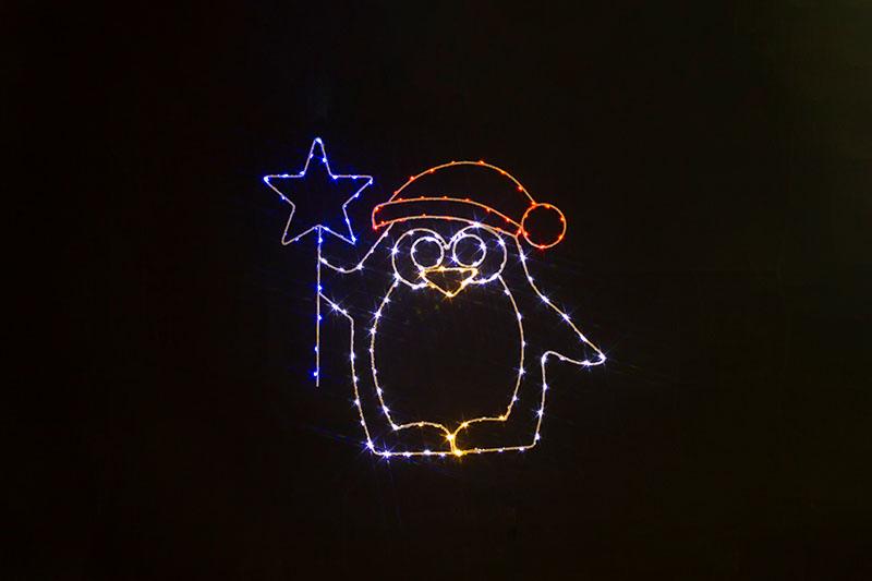 Multi Colour LED Metal Silhouette-Penguin