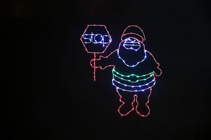 Multi Colour LED Metal Silhouette Santa Stop Here