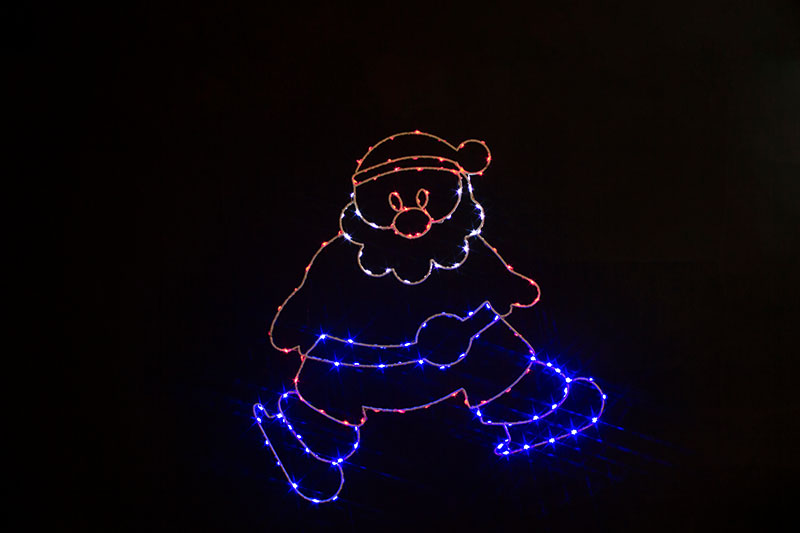 Multi Colour LED  Metal  Silhouette-Santa