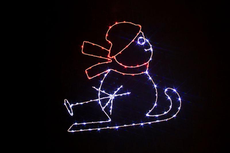 Multi Colour LED Metal Silhouette-Snowman