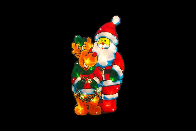 Santa And Deer Silhouette Lights PVC