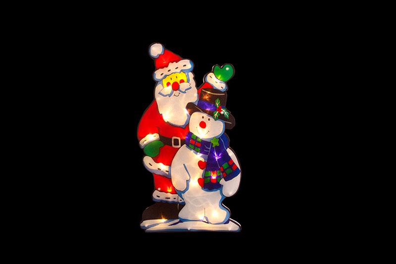 Santa And Snowman PVC Silhouette Light