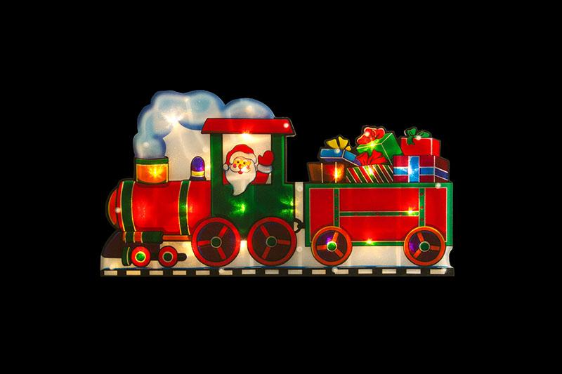 Santa Runs Train PVC Silhouette Lights