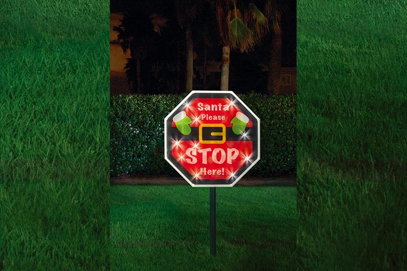 Solar PVC Santa Stop Here Sign