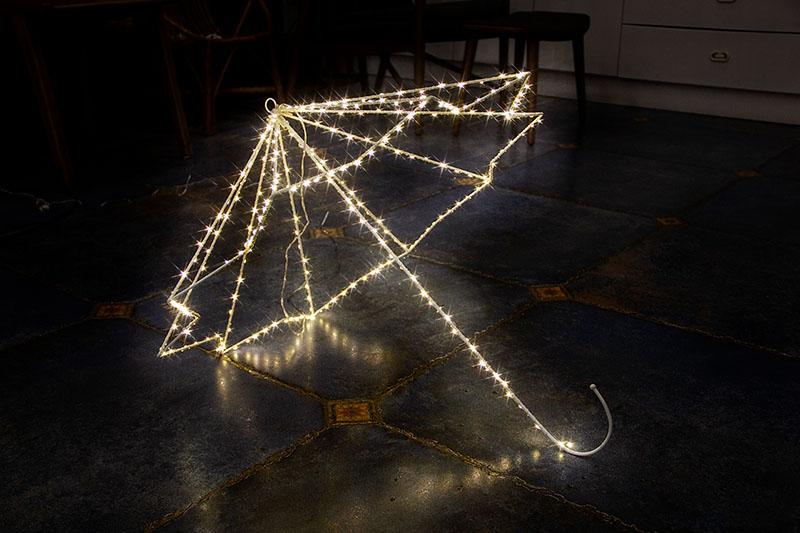 Warm White LED Metal Silhouette-Umbrella