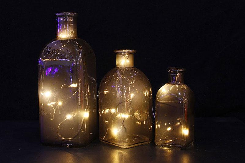 B/O 20 WARM WHITE LED 3PCS BROWN GLASS BOTTLE