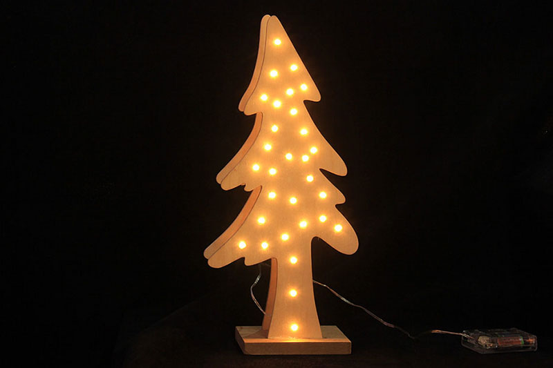 B/O 10 WARM WHITE LED WOODEN TREE TABLE LIGHT