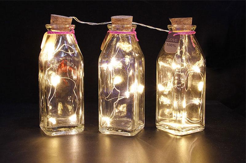 B/O 20 WARM WHITE LED 3PCS GLASS BOTTLE