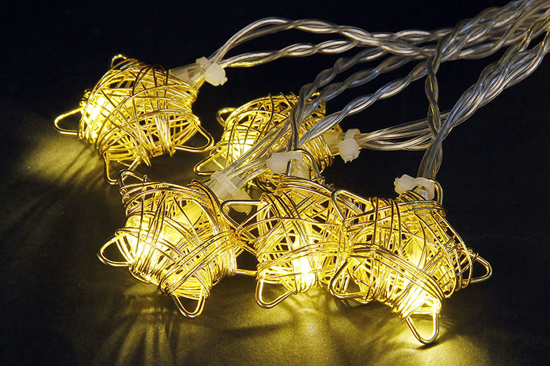 B/O 10 WARM WHITE LED METAL STAR LIGHTS