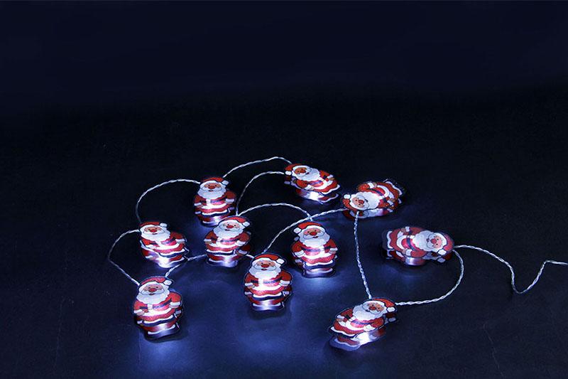 B/O 10 WHITE LED METAL SANTA LIGHT