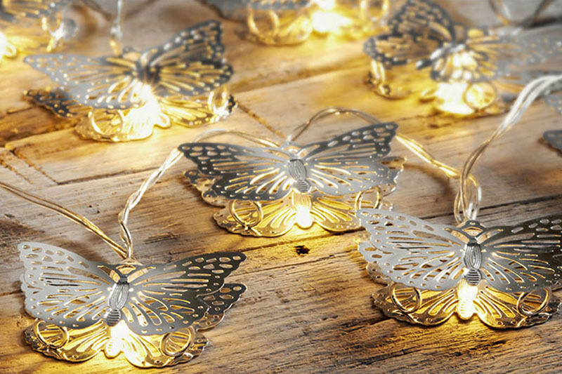 B/O WARM WHITE LED METAL BUTTERFLY LIGHTS