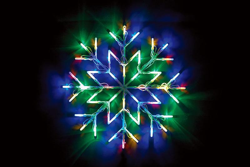 B/O 50 LED SNOWFLAKE SILHOUETTE LIGHTS-MULTI COLOUR