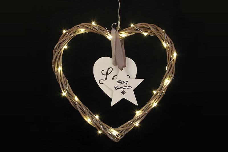 B/O 30 LED WICKER HEART LIGHTS
